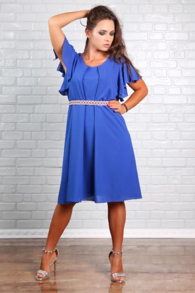 Rochie Dama En-gros Eleganta din Voal Valeris Bleu
