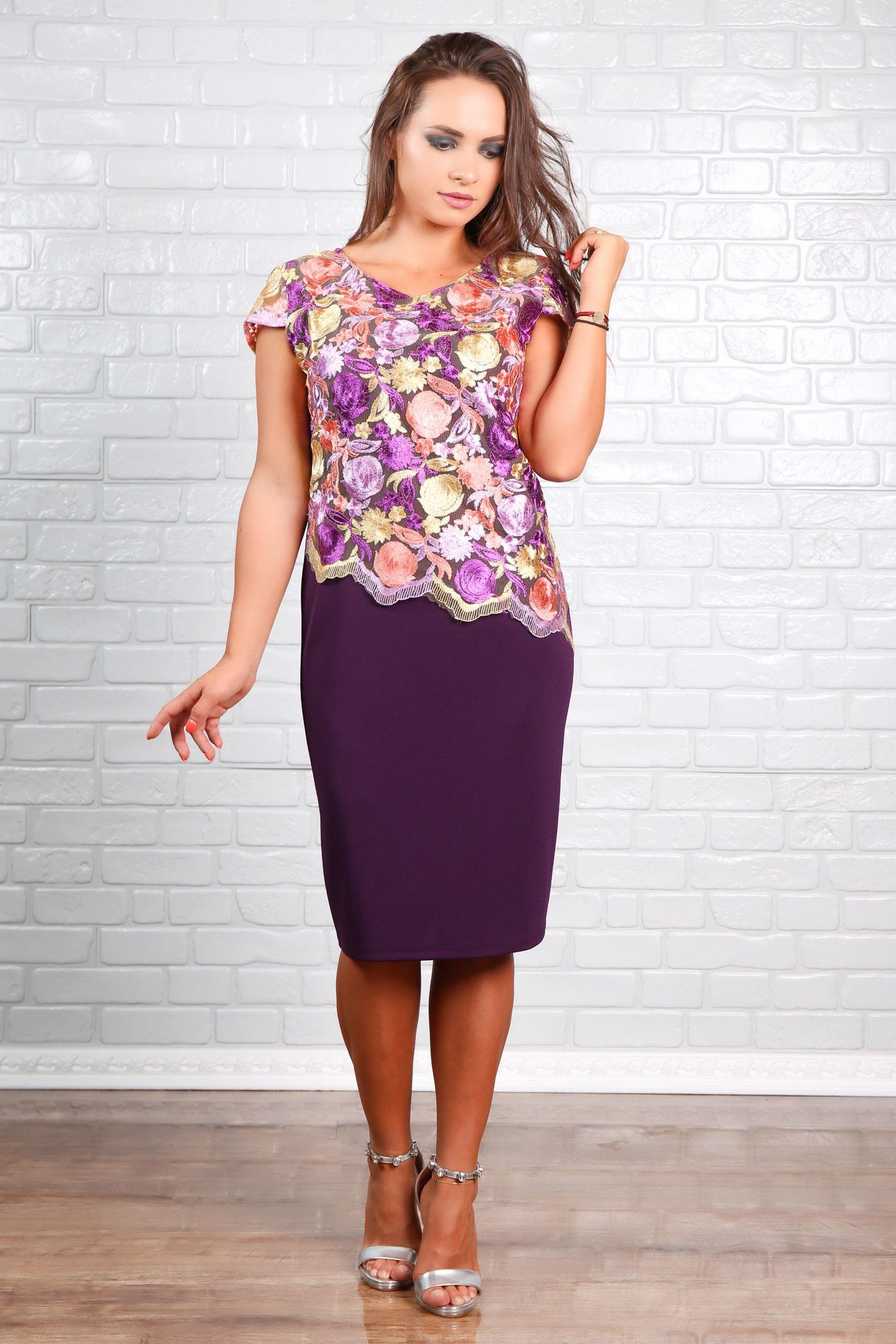 Rochie En-Gros din Crep Strech Cu Dantela Florala Despinn Purple
