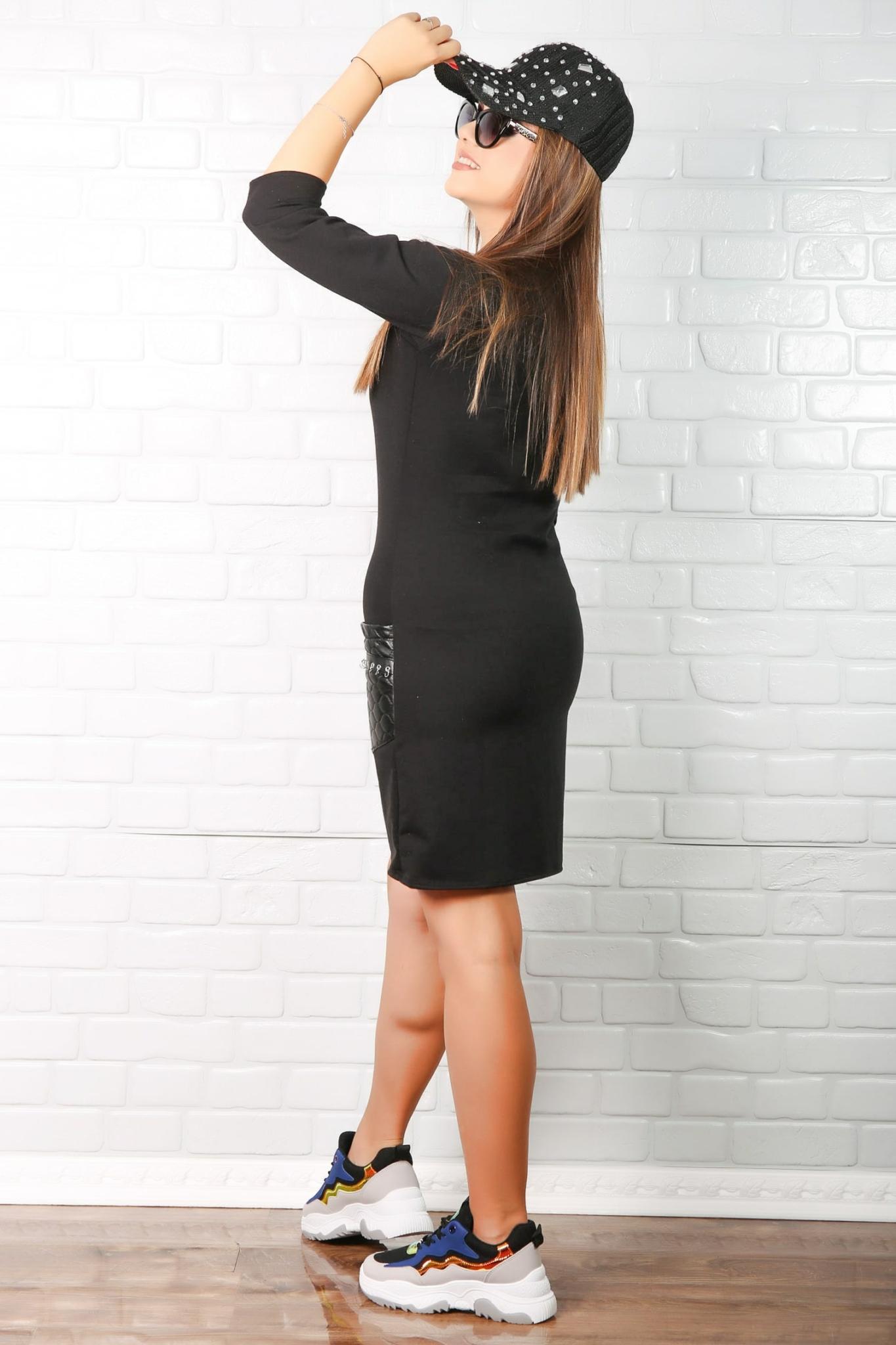 Rochie en-gros dama sport accesorizata Pauline Negru
